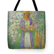 Girl In Monet's Garden At Giverny Tote Bag