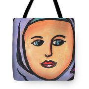 Girl In Purple Scarf Tote Bag