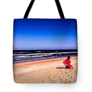 Girl In Red Dress Tote Bag