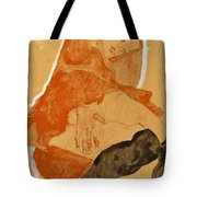 Girl In Red Robe And Black Stockings Tote Bag