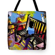 Girl In Red Shoes Tote Bag by Everett Spruill