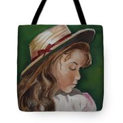 Girl In Ribboned Straw Hat Tote Bag