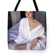 girl in the Bathrobe lying Tote Bag
