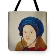 Girl In The Blue Bonnet Tote Bag