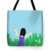 Girl In The Field Of Flowers Tote Bag