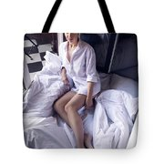Girl In The Shirt Lies At The Balcony In The Morning Tote Bag