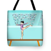 Girl Jumps On One Foot On The Balance Beam Tote Bag