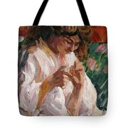 Girl Mending Tote Bag
