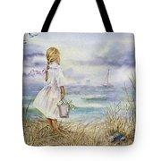 Girl And Ocean Watercolor Tote Bag