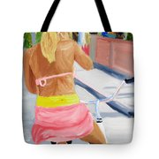 Girl On Bike Tote Bag