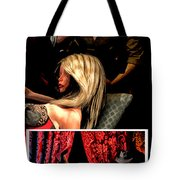 Girl On Couch Man On Curtain Tote Bag