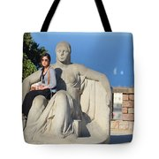 Girl On Statue Mt. Juic Barcelona Tote Bag