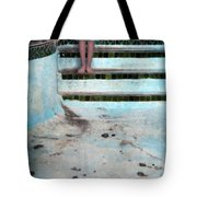 Girl On Steps Of Empty Pool Tote Bag