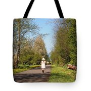Girl On Trail In Straw Hat Tote Bag