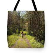 Girl On Trail With Walking Stick Tote Bag