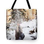 Girl Playing In The Snow In The Woods Tote Bag