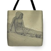 Girl Seated On A Hillside Tote Bag