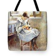 Girl Sewing Tote Bag