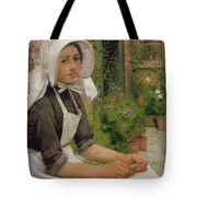 Girl Shelling Peas Tote Bag