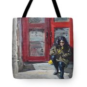 Girl Sitting At Red Doorstep Tote Bag