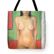 Girl Standing By Abstract Tote Bag
