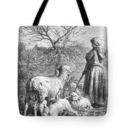 Girl Tending Sheep Tote Bag