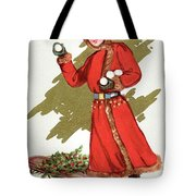 Girl Throwing Snowballs In A Christmas Landscape Tote Bag