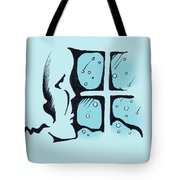 Girl Watching The Snow Tote Bag