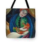 Girl With A Cat II Tote Bag