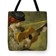Girl With A Guitar Tote Bag by Pierre Auguste Renoir