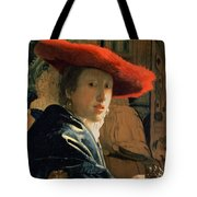 Girl With A Red Hat Tote Bag by Jan Vermeer