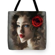 Girl With A Red Rose.. Tote Bag