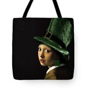 Girl With A Shamrock Earring Tote Bag