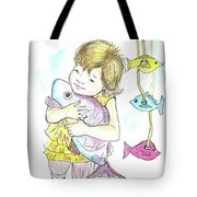 Girl With A Toy-fish Tote Bag