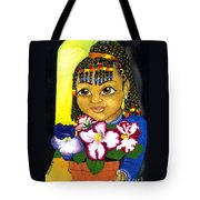 Girl With African Violet Tote Bag