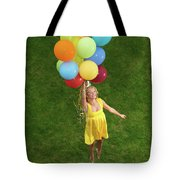 Girl With Air Balloons Tote Bag