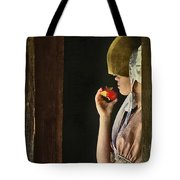 Girl With Apple Tote Bag