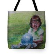 Girl With Ball Tote Bag