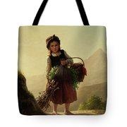 Girl With Basket Tote Bag