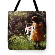 Girl With Basket Of Roses Tote Bag
