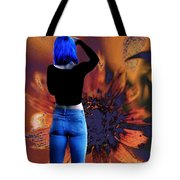 Girl With Blue Hair Tote Bag