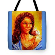 Girl With Blue Shawl Tote Bag