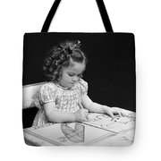 Girl With Coloring Book, C.1960-40s Tote Bag