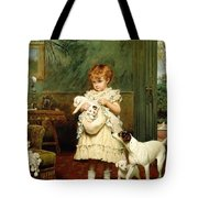 Girl With Dogs Tote Bag by Charles Burton Barber