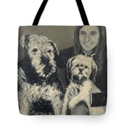 Girl With Dogs In Black And White Tote Bag