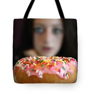 Girl With Doughnut Tote Bag