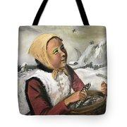 Girl With Fish Basket Tote Bag