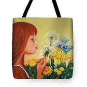Girl With Flower Tote Bag