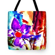 Girl With Flowers Tote Bag