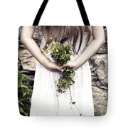 Girl With Flowers Tote Bag by Joana Kruse
